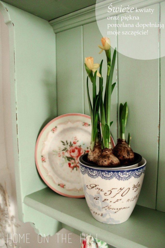 połka kuchenna, ceramika Green Gate, DIY mebel, DIY półka kuchenna