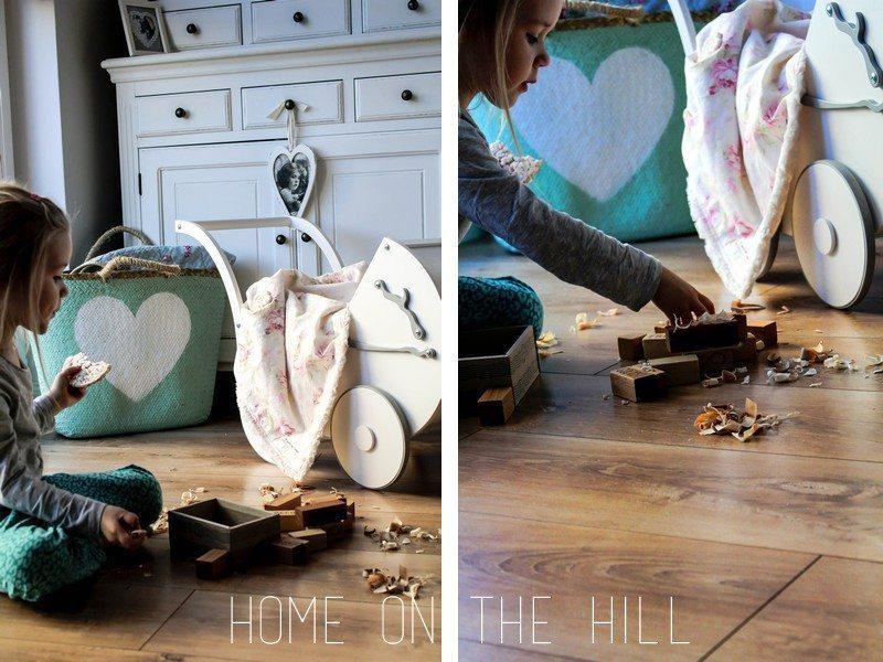 klocki z drewna, wózek dla lalek, blog lifestylowy