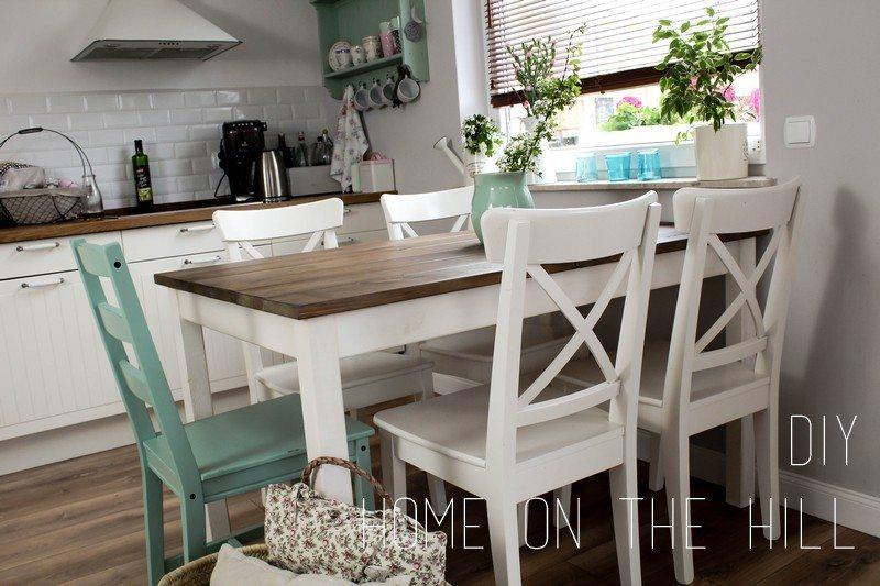 aneks kuchenny, duży stół, styl prowansalski