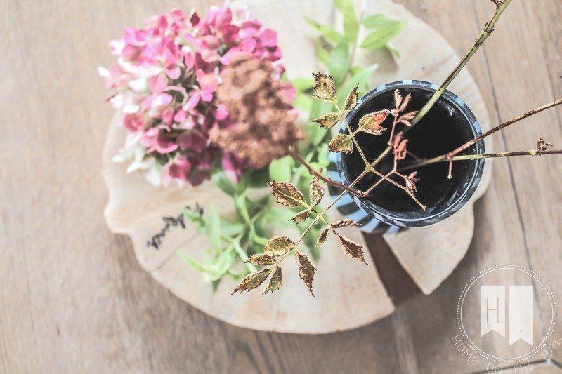 jesienne dekoracje, suszona hortensja