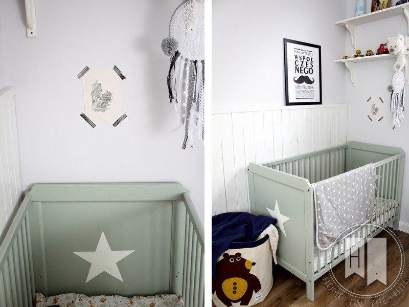 pokój niemowlaka, miętowe łożeczko