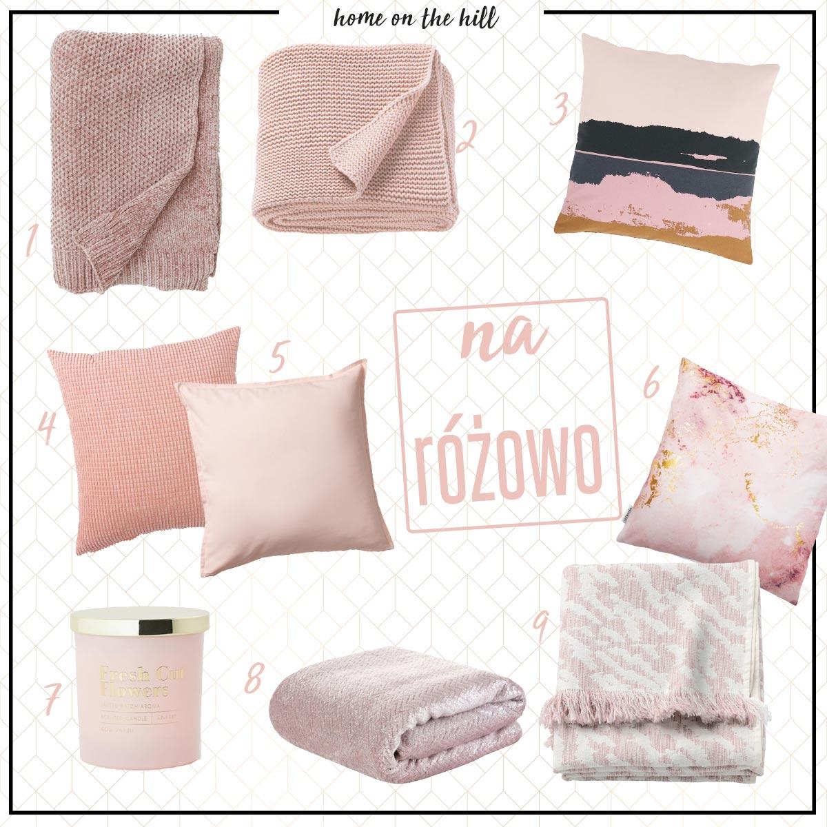 różowe koce i poduszki
