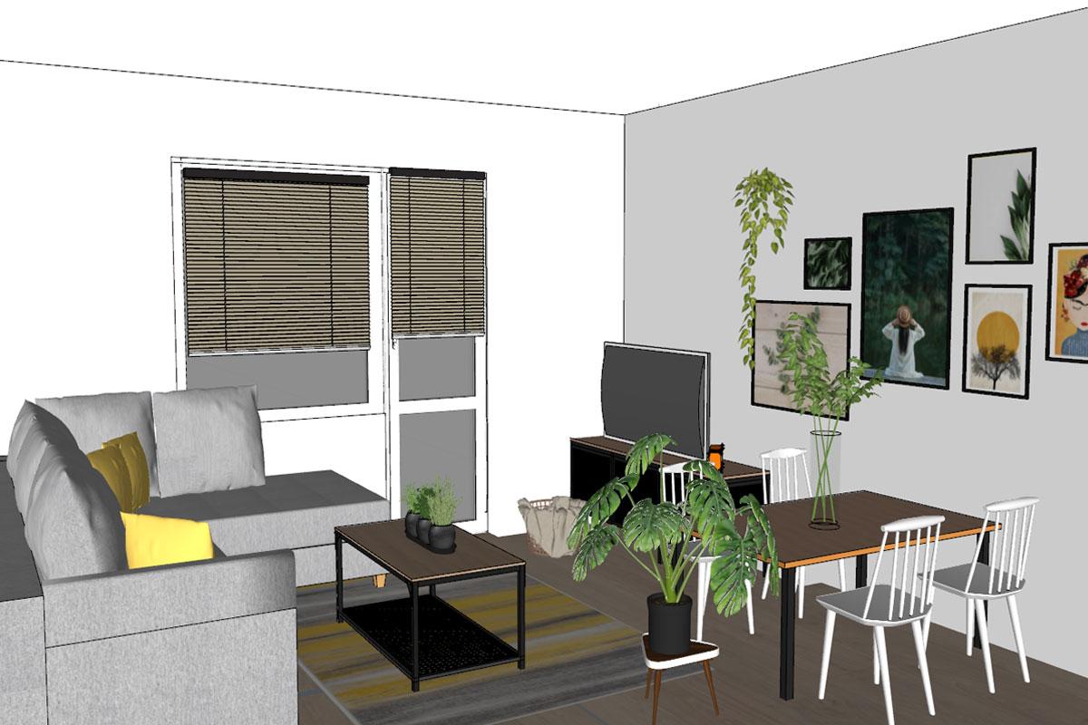 projekt niewielkiego salonu