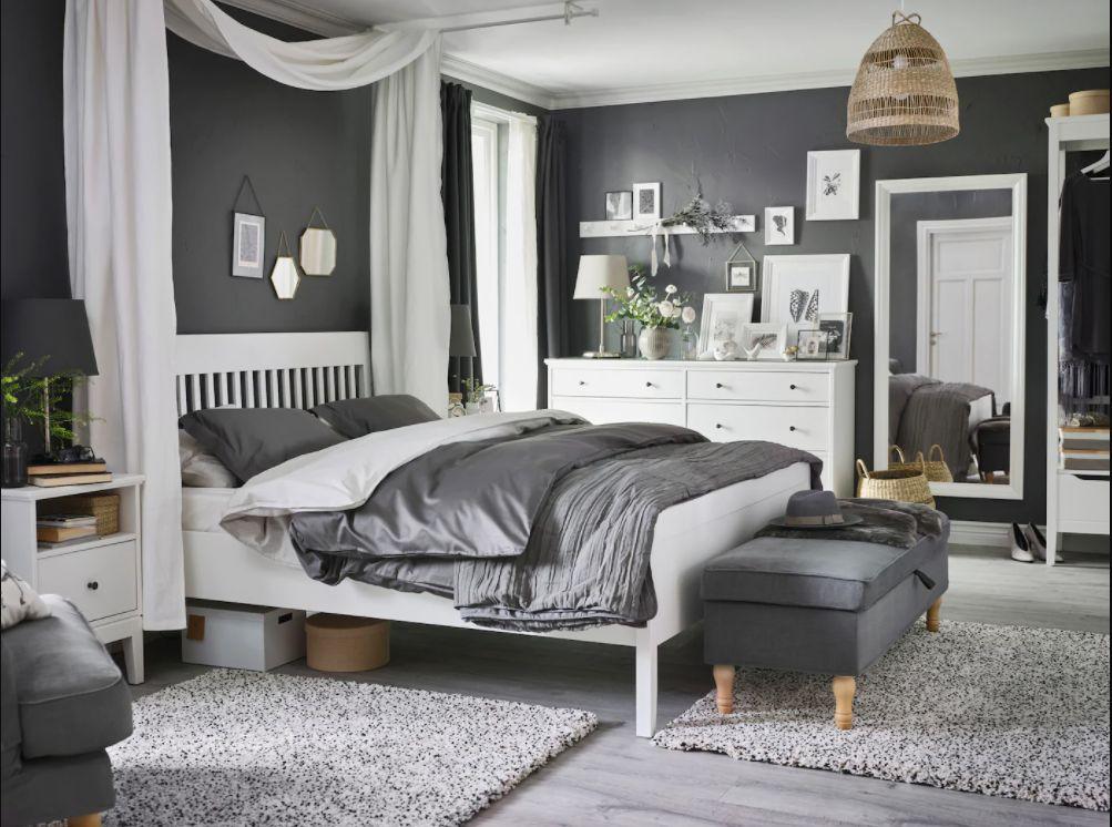 sypialnia szaro biała