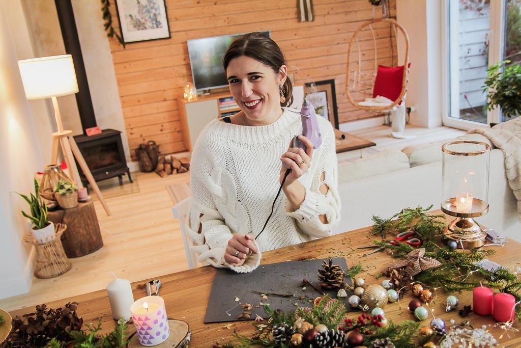 Świąteczny stroik na stół DIY